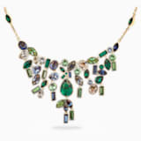 Bamboo Bib Necklace, Dark multi-colored, Gold-tone plated - Swarovski, 5535897