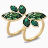 Bamboo 戒指, 绿色, 镀金色调 - Swarovski, 5535898