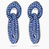 Tigris-steekoorbellen, Blauw, Ruthenium toplaag - Swarovski, 5535899