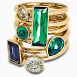 Sada prstenů (6), tmavá, vícebarevná, pozlacená - Swarovski, 5535935