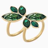 Bamboo 戒指, 绿色, 镀金色调 - Swarovski, 5535941