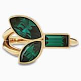 Bamboo 戒指, 绿色, 镀金色调 - Swarovski, 5535955