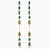 Bamboo Long 穿孔耳環花托, 綠色, 鍍金色色調 - Swarovski, 5535986