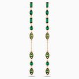 Dlouhé visací náušnice Bamboo, zelené, pozlacené - Swarovski, 5535986