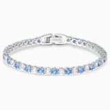 Tennis Deluxe 手链, 浅蓝色, 镀铑 - Swarovski, 5536469