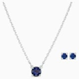 Attract Round 套裝, 藍色, 鍍白金色 - Swarovski, 5536554