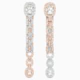 Pendientes Eternal, blanco, combinación de acabados metálicos - Swarovski, 5536596
