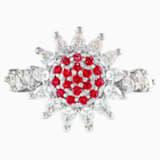 Prsten Botanical, červený, rhodiovaný - Swarovski, 5536620
