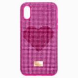Etui na smartfona Crystalgram Heart z ramką chroniącą przed uderzeniem, iPhone® X/XS, różowe - Swarovski, 5536634