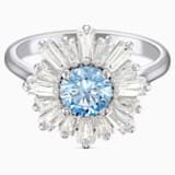 Sunshine 戒指, 藍色, 鍍白金色 - Swarovski, 5536743