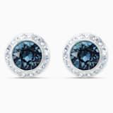 Angelic Stud Pierced Earrings, Blue, Rhodium plated - Swarovski, 5536770