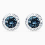 Angelic Stud Pierced Earrings, Blue, Rhodium plated - Swarovski, 5536770