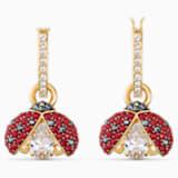 Pendientes Swarovski Sparkling Dance Ladybug, rojo, baño tono oro - Swarovski, 5537490