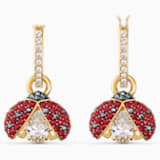 Swarovski Sparkling Dance Ladybug 穿孔耳環, 紅色, 鍍金色色調 - Swarovski, 5537490