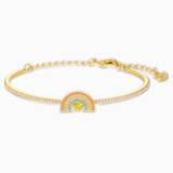 Bracelet-jonc Swarovski Sparkling Dance Rainbow, multicolore clair, métal doré - Swarovski, 5537493