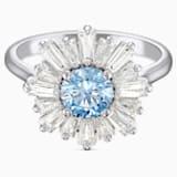 Sunshine 戒指, 藍色, 鍍白金色 - Swarovski, 5537796