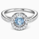 Prsten s kulatým kamenem Swarovski Sparkling Dance, akvamarínový, rhodiovaný - Swarovski, 5537798