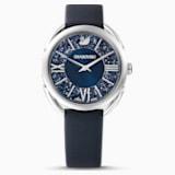 Crystalline Glam Saat, Deri kayış, Mavi, Paslanmaz çelik - Swarovski, 5537961