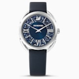 Crystalline Glam Watch, Leather strap, Blue, Stainless steel - Swarovski, 5537961