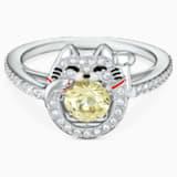 Swarovski Sparkling Dance Cat gyűrű, világos, többszínű, ródium bevonattal - Swarovski, 5538137