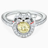 Swarovski Sparkling Dance Cat gyűrű, világos, többszínű, ródium bevonattal - Swarovski, 5538139