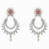 Botanical Pierced Earrings, Red, Rhodium Plated - Swarovski, 5538538