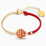 Full Blessing Fu Bracelet, Red, Gold-tone plated - Swarovski, 5539896