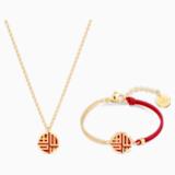 Full Blessing Fu Set, Red, Gold-tone plated - Swarovski, 5539898
