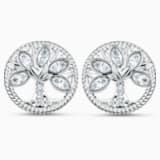 Swarovski Symbolic-steekoorknopjes met levensboom, Wit, Rodium-verguld - Swarovski, 5540301