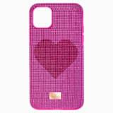 Etui na smartfona Crystalgram Heart z ramką chroniącą przed uderzeniem, iPhone® 11 Pro Max, różowe - Swarovski, 5540722