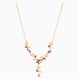 Náhrdelník ve tvaru Y Tropical Flower, růžový, pozlacený - Swarovski, 5541061