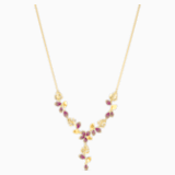 Tropical Flower Y Necklace, Pink, Gold-tone plated - Swarovski, 5541061