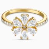 Botanical Flower 戒指, 白色, 鍍金色色調 - Swarovski, 5542527