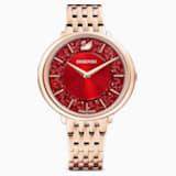 Ρολόι Crystalline Chic, μεταλλικό μπρασελέ, κόκκινο, PVD σε χρυσή-ροζ απόχρωση - Swarovski, 5547608