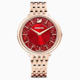 Reloj Crystalline Chic, brazalete de metal, rojo, PVD tono oro rosa - Swarovski, 5547608
