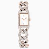 Reloj Cocktail, brazalete de metal, blanco, PVD tono oro rosa - Swarovski, 5547614