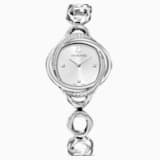 Ρολόι Crystal Flower, μεταλλικό μπρασελέ, ασημί τόνοι, ανοξείδωτο ατσάλι - Swarovski, 5547622