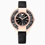 Ρολόι Crystalline Sporty, δερμάτινο λουράκι, μαύρο, PVD σε χρυσή-ροζ απόχρωση - Swarovski, 5547632