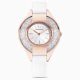 Crystalline Sporty 手錶, 真皮錶帶, 白色, 玫瑰金色調PVD - Swarovski, 5547635