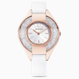 Reloj Crystalline Sporty, correa de piel, blanco, PVD tono oro rosa - Swarovski, 5547635
