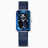 Uptown Watch, Leather strap, Blue, Stainless Steel - Swarovski, 5547713