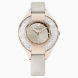 Crystalline Sporty Watch, Leather strap, Grey, Champagne-gold tone PVD - Swarovski, 5547976