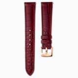 17mm 錶帶, 皮革飾以縫線, 暗紅, 鍍玫瑰金色調 - Swarovski, 5548627