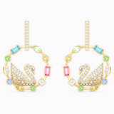 Rainbow Swan 穿孔耳環, 鍍金色色調 - Swarovski, 5549051