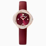 Ρολόι Crystal Flower, δερμάτινο λουράκι, κόκκινο, PVD σε χρυσή-ροζ απόχρωση - Swarovski, 5552780