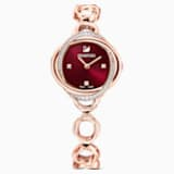 Crystal Flower Watch, Metal bracelet, Red, Rose-gold tone PVD - Swarovski, 5552783