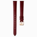Cinturino per orologio 12mm, Pelle, rosso scuro, PVD oro rosa - Swarovski, 5553222