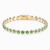 Tennis 手鏈, 綠色, 鍍金色色調 - Swarovski, 5555824