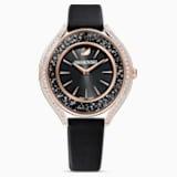 Ρολόι Crystalline Aura, δερμάτινο λουράκι, μαύρο, PVD σε χρυσή ροζ απόχρωση - Swarovski, 5558634