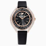 Crystalline Aura Watch, Leather strap, Black, Rose-gold tone PVD - Swarovski, 5558634